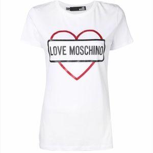 Love Moschino Logo Heart Print White T-Shirt